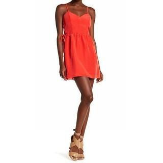 Parker Womens Smocked Back Lace Up Side Sheath Dress