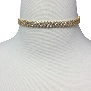 Sterling Silver 3 Row Choker Dipped In Gold