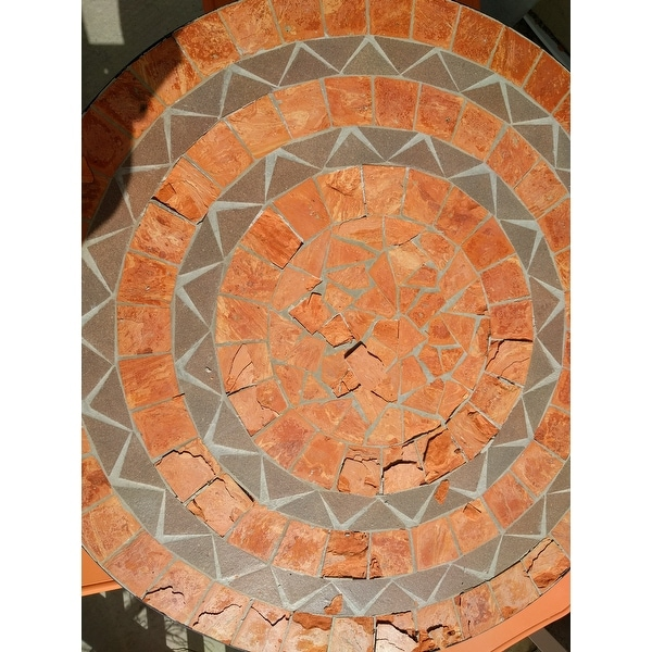 terra cotta sandstone tile top bistro table by home styles free shipping today overstock 14248505