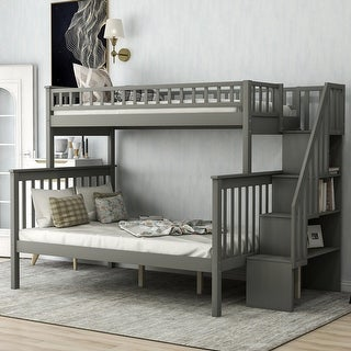 Merax Twin-over-Full Bunk Bed Stairway with Shelves