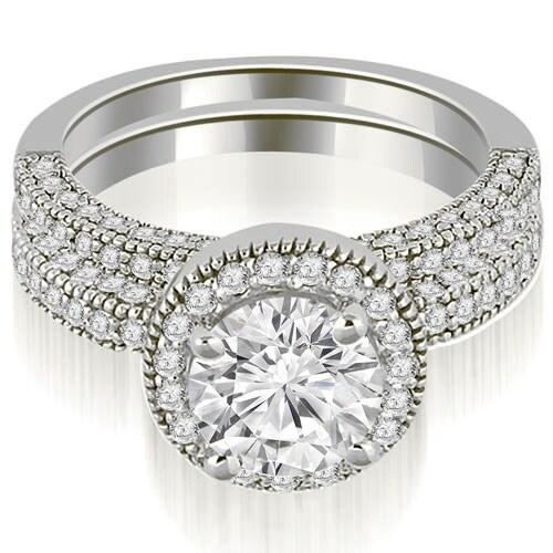 1.85 cttw. 14K White Gold Halo Round Cut Diamond Bridal Set