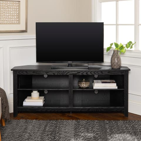 Ogden 58-inch Black Corner TV Stand Console with Open Shelving