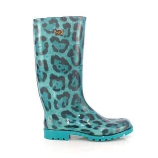 Dolce & Gabbana Blue Leopard Rubber Rain Boots Shoes Wellies - 38