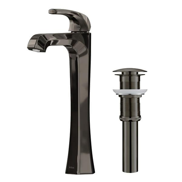 KRAUS Esta Single Handle 1-Hole Vessel Bathroom Faucet w/ Pop Up Drain. Opens flyout.