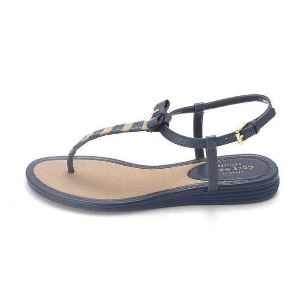 Cole Haan Womens Effie With Stripes Canvas Open Toe Casual T-Strap Sandals - 6