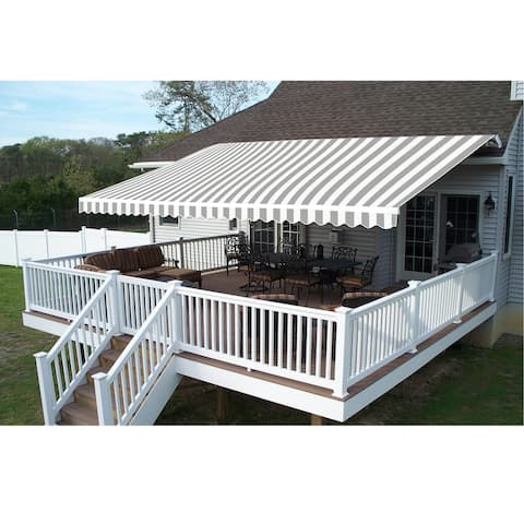 ALEKO Retractable 12 x 10 feet Awning Home Patio Canopy Grey/White