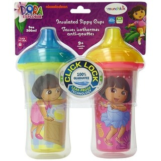 Dora the Explorer Click Lock Insulated Sippy Cup, 9 Ounce, 2-Count