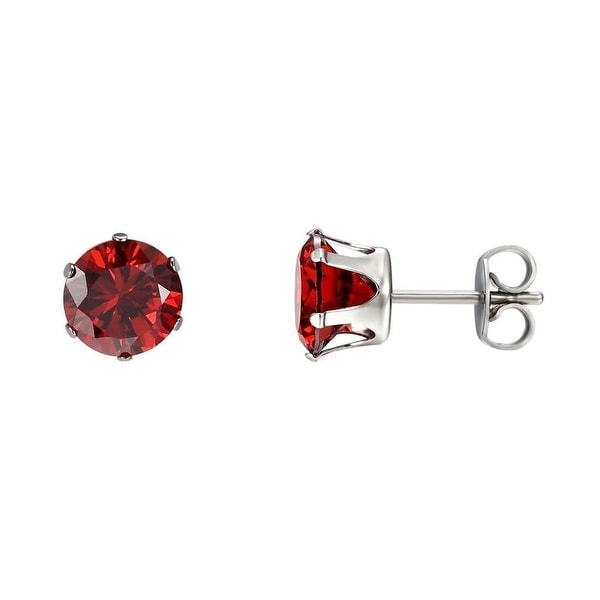 Stainless Steel Solitaire Earrings Red Cubic Zirconia Studs Butterfly Back 3mm