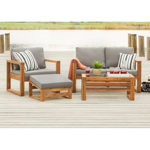 4-Piece Hudson Brown Acacia Outdoor Chat Set with Grey Cushions