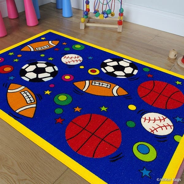 Allstar Kids Baby Room Area Rug Sports Football