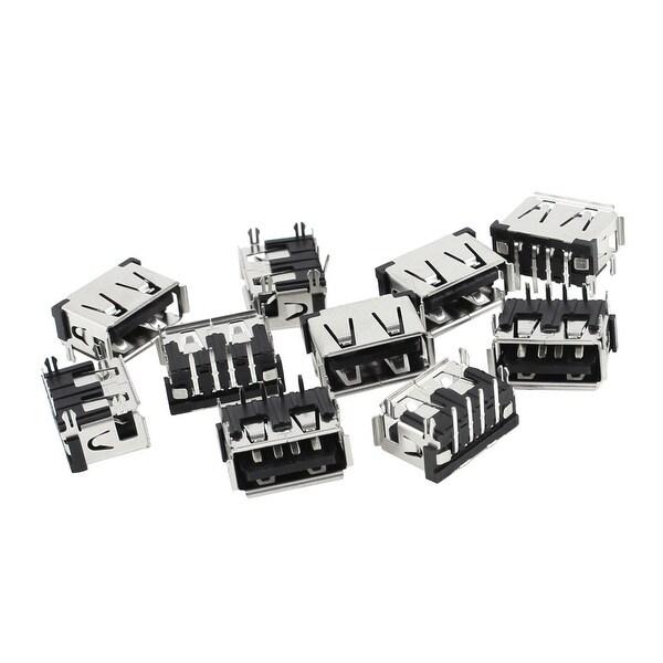 10pcs PCB Mounted 90 Degree 4-Pin Female Single USB A Jack Port