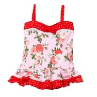 Azul Baby Girls Pink Red Floral Print Heaven Scent One Piece Swimsuit
