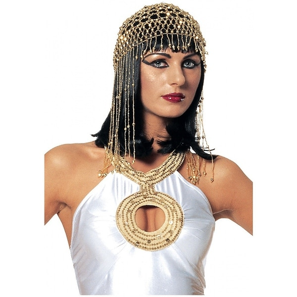 Egyptian Beaded Gold Headpiece Adult Costume Accessory