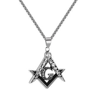 Masonic G Pendant Compass Square Stainless Steel Free Box Necklace Mens Elegant