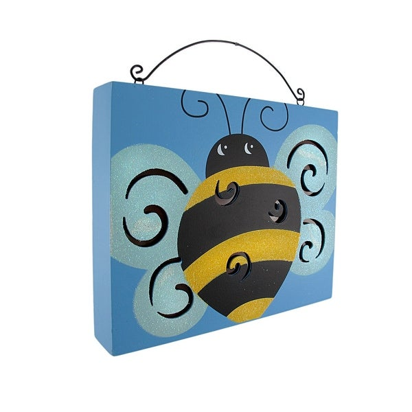 Ble Bee Wooden Wall Plaque With Lights Battery Operated