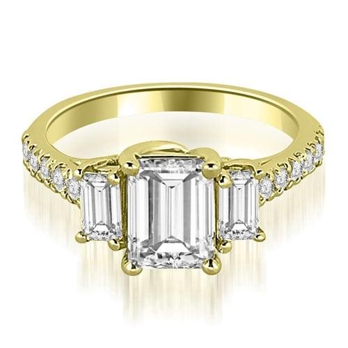 1.90 cttw. 14K Yellow Gold Lucida Three-Stone Diamond Emerald Engagement Ring