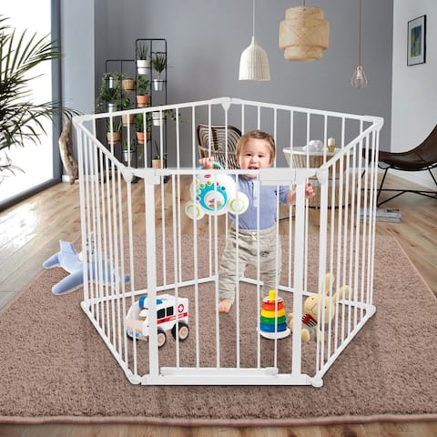 Odoland 128-Inch Baby Gate Playard with Swing door, Adjustable Metal Safety 5 Panels Play-Pen for Toddler/Pet/Dog Christ - M