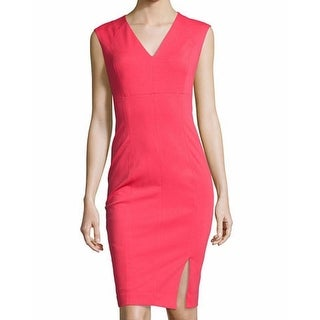 T Tahari NEW Coral Pink Women's Size 4 V-Neck Seamed Sheath Dress