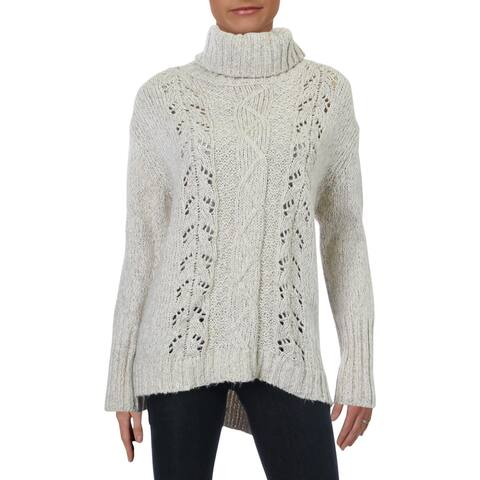 Cliche Womens Sweater Turtleneck Ribbed - Ivory Multi - L