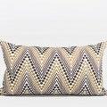 "G Home Collection Luxury Metallic Big Chevron Embroidered Pillow 12""X20"" - Thumbnail 0"