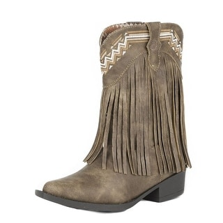 Roper Western Boots Girls Faux Leather Tan 09-018-1556-1119 BR