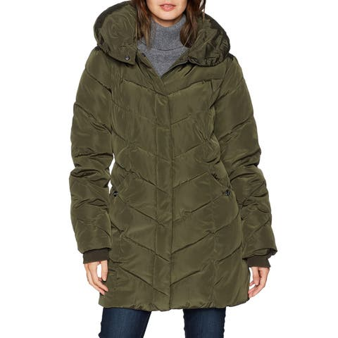 Steve Madden Womens Jacket Green Size Large L Quilted Chevron Full Zip