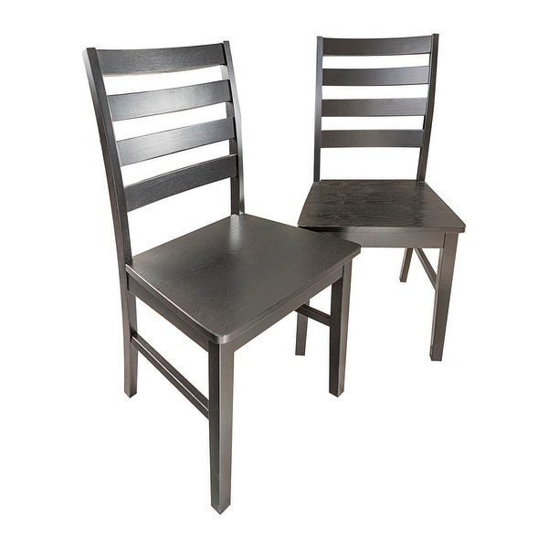 Offex Solid Wood Ladder Back Dining Chair Set Of 2 Black