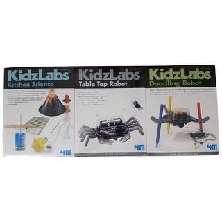 4M 3-Pack KidzLabs - Kitchen Science / Table Top Robot / Doodling Robot - MultiColor