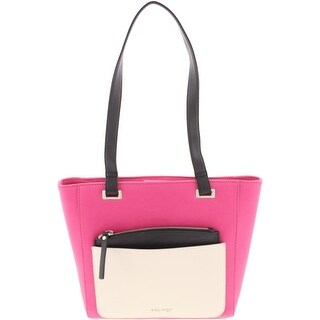Nine West Womens Horina Tote Handbag Faux Leather Colorblock - Medium