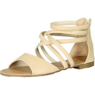 Anna Womens Mango Gladiator Ankle Strappy Back Zipper Flat Sandal - Beige - 8.5 b(m) us
