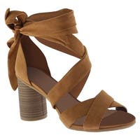 Kenneth Cole Reaction Women's Rita Lita Lace Up Sandal Umber Microsuede
