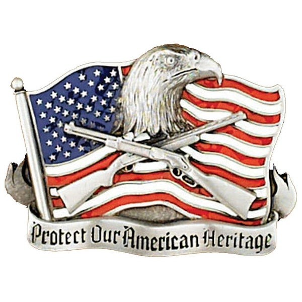 Protect Our American Heritage Silver Tone Belt Buckle