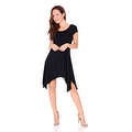 Simply Ravishing Women's Short Sleeve Stretch Swing Handkerchief Hem Dress Medi Dress - Thumbnail 4