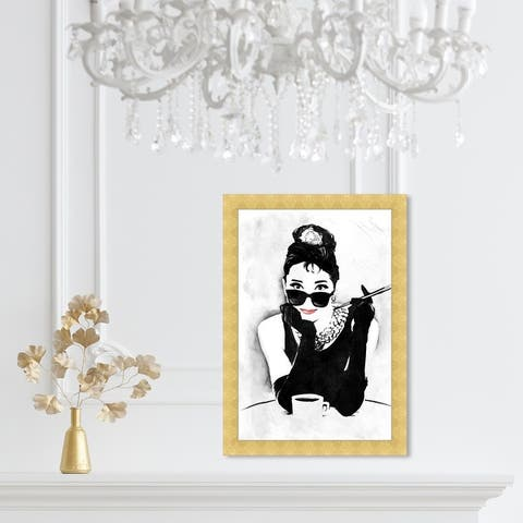 Oliver Gal 'The Look of A Lady' People and Portraits Framed Wall Art Prints Celebrities - Black, White