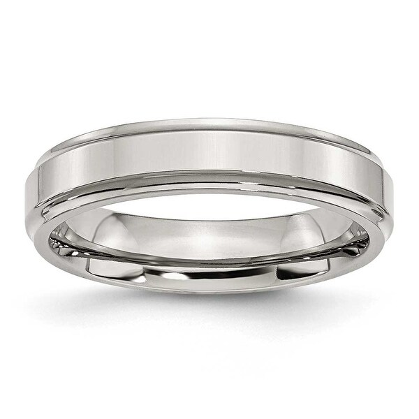 Stainless Steel Ridged-Edge 5mm Polished Band