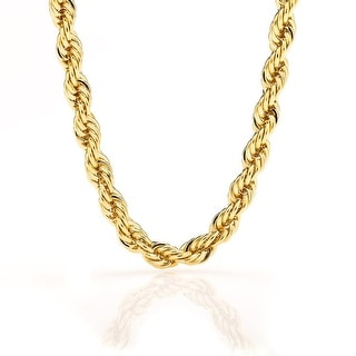 Gold chain necklace 7MM Rope Stunning Thick 24K Necklace for Men/Women, Tarnish-Resistant, Solid Gold Look