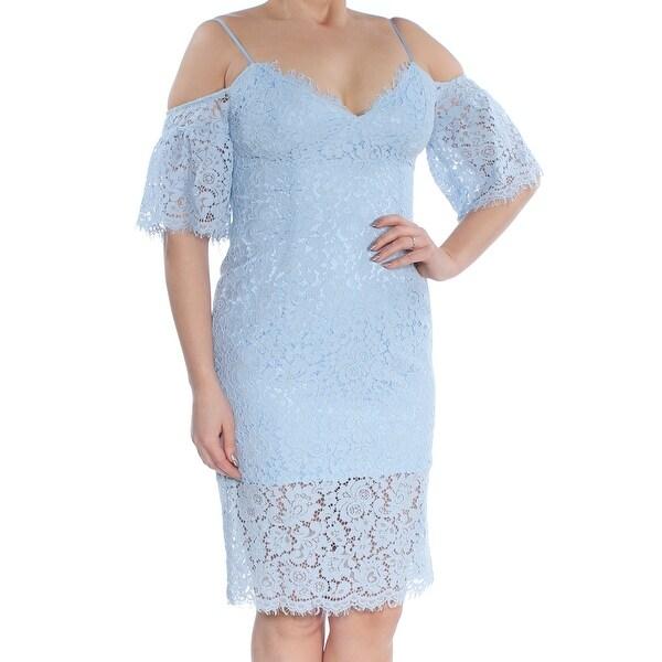 6a81e4a85c BARDOT Womens Light Blue Cold Shoulder Lace Short Sleeve V Neck Knee Length  Sheath Cocktail Dress Size: L