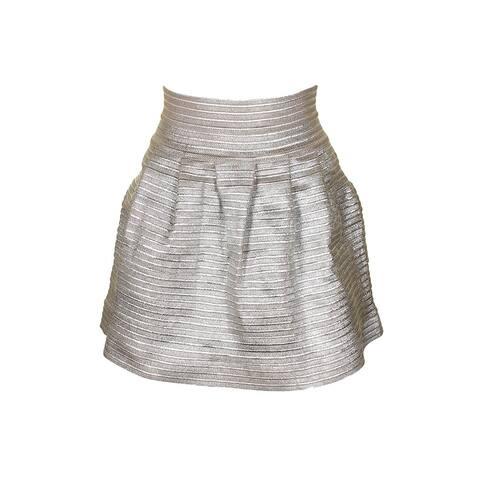 Aqua Silver Metallic Pleated Skirt XS