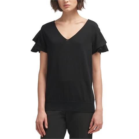 DKNY Womens Side Stripe Basic T-Shirt, Black, Large