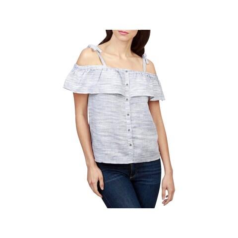Lucky Brand Womens Blouse Linen Pinstripe