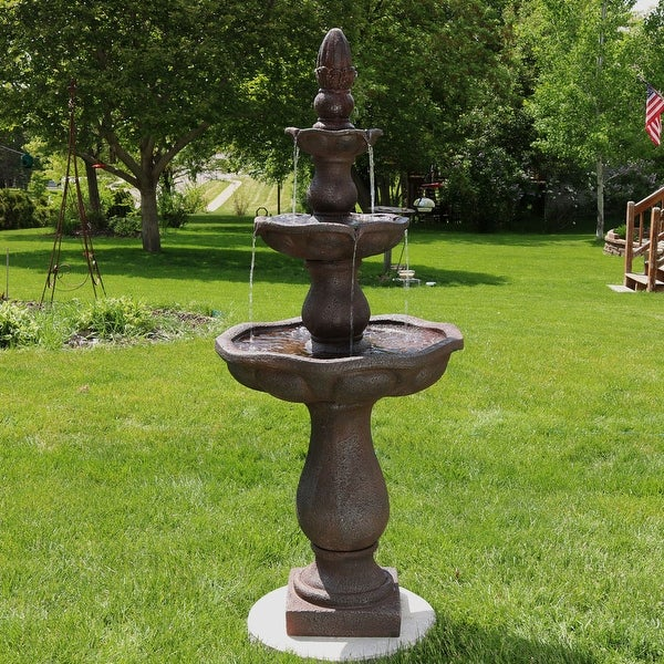 Sunnydaze Serenity 3 Tier Outdoor Water Fountain 57 Inch Tall