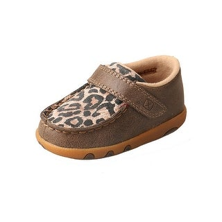 Twisted X Casual Shoes Kid Driving Moc Leopard Hook Loop Brown
