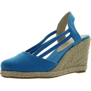 C Label Rollin-5 Womens Espadrille Elastic Sling Back Wedge Sandals - Blue