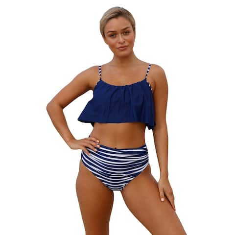 Cali Chic Women's Two Piece Swimsuit Celebrity Navy Top and Striped Bottom High Waist Swimwear