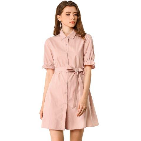 Women's Short Ruffled Sleeve Cotton Belted Button Down Shirt Dress