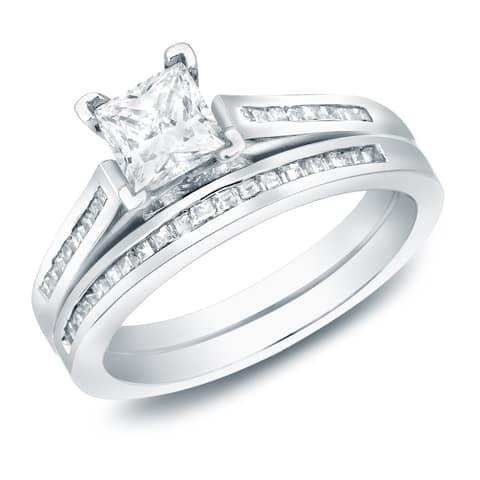 Auriya 14k Gold 1 1/2ctw Modern Princess-cut Diamond Engagement Ring Set Certified