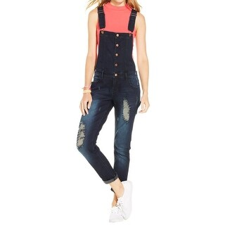 Tinseltown Womens Overall Jeans Destroyed Medium Wash
