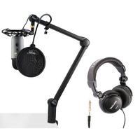 Blue Microphone Yeti Slate Mic with Radiuss III, Pop Filter & Headphones