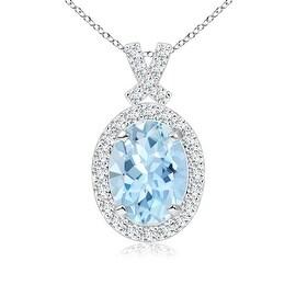 Vintage Inspired Diamond Halo Oval Aquamarine Pendant