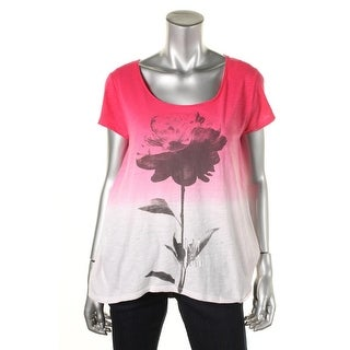 DKNY Jeans Womens Pullover Top Ombre Floral - l